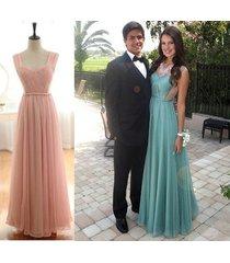sexy blue chiffon long prom dress,evening dress,party dress,homecoming dress