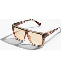 square flat top ombre tort sunglasses, brown