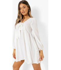gesmokte jurk met strik, white