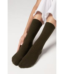 calzedonia short ribbed socks with wool and cashmere woman green size tu