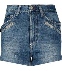 philipp plein multi-pocket denim shorts - blue