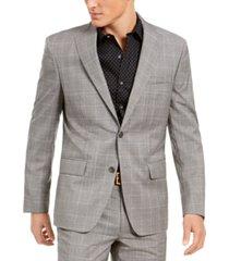 dkny men's slim-fit stretch light gray plaid suit jacket