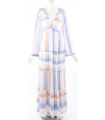 stella mccartney striped multicolorcotton long sleeve maxi dress white/multicolor sz: xs