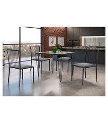 conjunto de mesa de jantar grécia com tampo de vidro siena e 4 cadeiras atos linho cinza e grafite