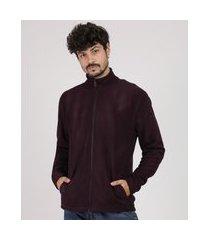 blusão masculino básico em fleece com bolsos marrom escuro