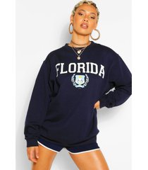 florida slogan extreme oversized sweatshirt, navy