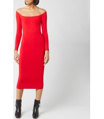 alexander wang women's long sleeve ankle length dress - red - l - red