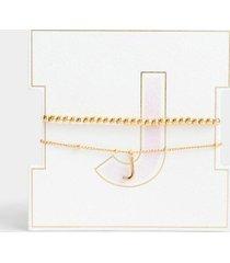 delicate initial bracelet set - j