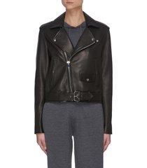 belt detail leather biker jacket