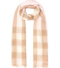 checker print fringe edge wool silk blend scarf