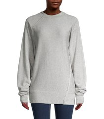 helmut lang women's deconstructed sweatshirt - vapor heather - size l