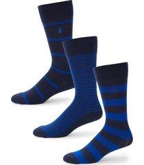 polo ralph lauren men's 3-pair classic striped crew socks - navy
