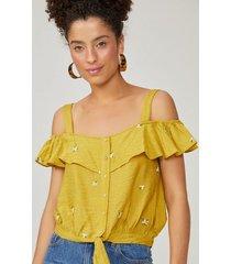 amaro feminino blusa bordado madre pérola, amarelo