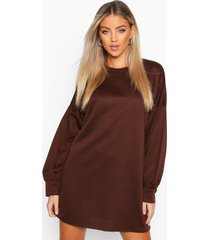 oversized sweatshirt jurk, chocolade