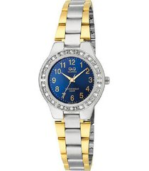 reloj q&q q691j405y análogo bicolor para mujer