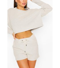 baggy wafe gebreide lounge top, steenrood