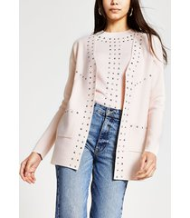 river island womens beige stud detail knitted cardigan