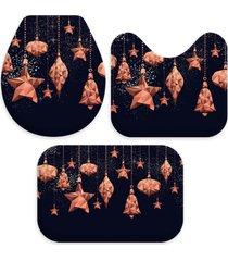 jogo tapetes para banheiro pingentes natalinos bronze único love decor