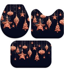 jogo tapetes para banheiro pingentes natalinos bronze ãšnico love decor - multicolorido - dafiti