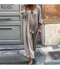 zanzea mujer vestidos de fiesta florales con cuello en v de manga larga con cordones para mujer -beige
