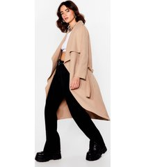 womens waterfall into place petite belted coat - camel