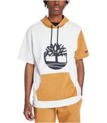 men's color block short sleeve hoodie