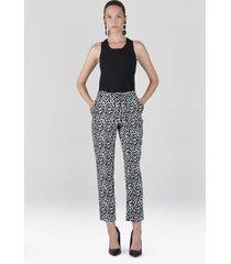 natori stencil vine jacquard ankle pants, women's, cotton, size 6
