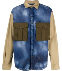 dsquared2 colour block military shirt - blue