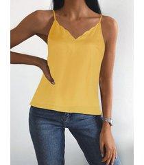 yoins camisola amarilla con cuello en v y tirantes finos ajustables en los hombros