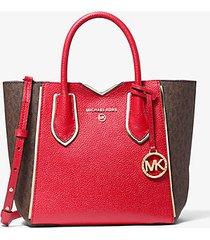 mk borsa messenger mae piccola in pelle martellata con logo - rosso brillante (rosso) - michael kors
