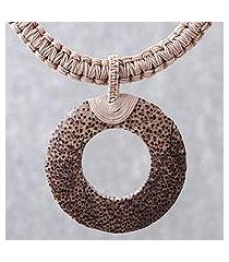 wood and leather pendant necklace, 'earth ring in ecru' (thailand)