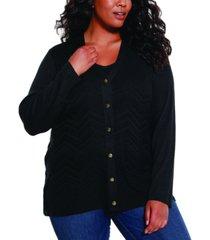 belldini black label women's plus size chevron pattern open cardigan