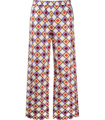 aspesi square print straight trousers - neutrals