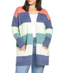 plus size women's caslon stripe cardigan, size 3x - coral
