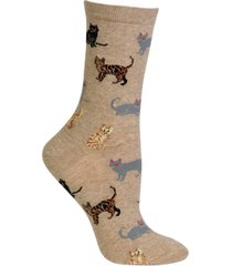 hot sox women's cats fashion crew socks
