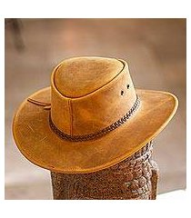 men's leather hat, 'outback ranger in golden tan' (mexico)