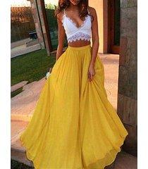 plisado diseño falda de gasa con cintura elástica