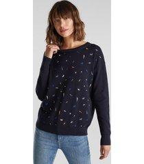sweater mujer bordado azul marino esprit