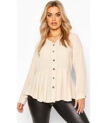 plus pleated button detail peplum shirt, stone
