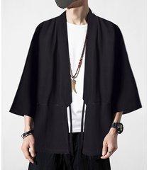cárdigan anudado casual liso de la capa de hanfu del estilo chino de los hombres