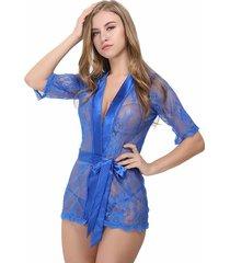 camisón de cinturón de pijamas sexy divertido-azul
