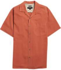 pronto uomo orange silk camp shirt