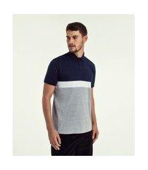 camiseta polo lisa com recortes | marfinno | cinza | gg