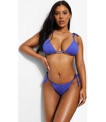 mix & match gekreukelde bikini top met strik, cobalt