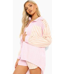 contrasterend gestreepte baggy blouse, pink