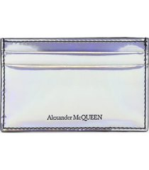 alexander mcqueen holographic card holder with logo detail
