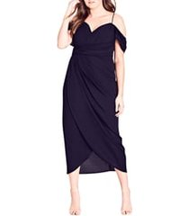 plus size women's city chic entwine cold shoulder tulip midi dress