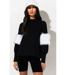 akira forever and ever fur sleeve sweatshirt