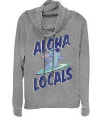 fifth sun women's disney lilo stitch aloha locals stitch fleece cowl neck sweatshirt