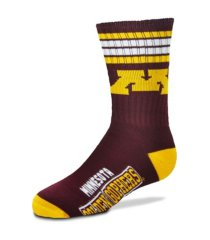 for bare feet minnesota golden gophers youth 4 stripe deuce crew socks